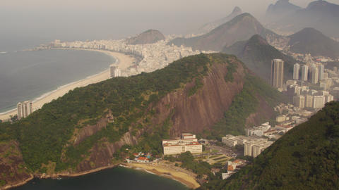 Static aerial shot of the Rio de Janeiro coastline in Brazil Footage