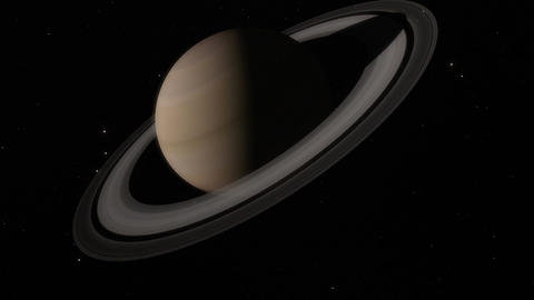 Timelapase of Planet Saturn Rotating in Space Animation