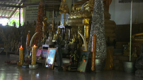 Interior of a Buddhist Temple Footage