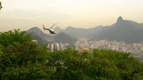 Shot of helicopter taking off and flying over Rio de Janeiro, Brazil Footage