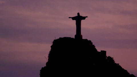 Static shot of the silhouette of Cristo Redentor in Rio de Janeiro, Brazil Footage