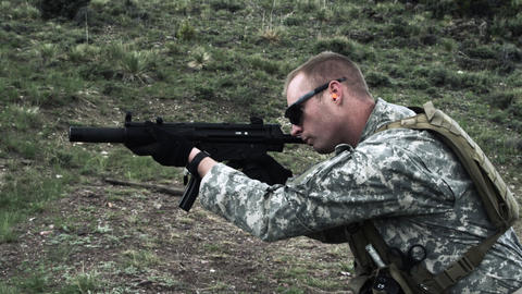 Soldier shooting automatic carbine Footage