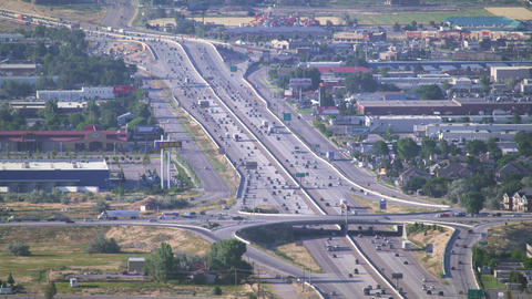 Aerial shot of Bangerter Highway in South Salt Lake valley in UT Footage