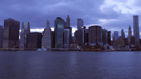 Panning shot of New York cityscape with overcast sky Footage