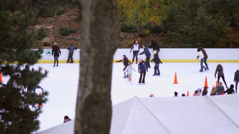 Shot of skating rink with orange cones Footage