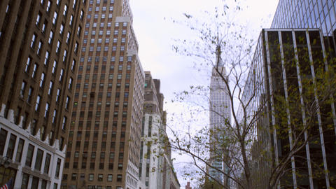 Tracking shot driving towards Empire State building. the Footage