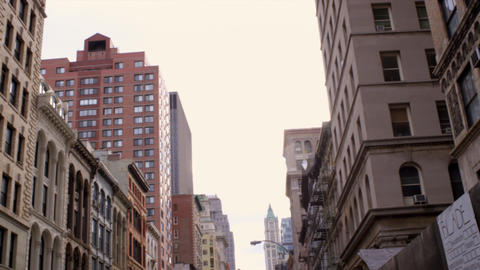 Slow panning shot of older buildings in NYC Footage