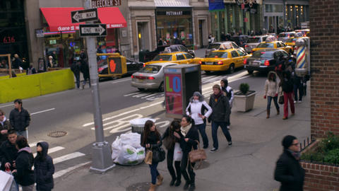 Tracking shot of Bleecker street in NYC Footage