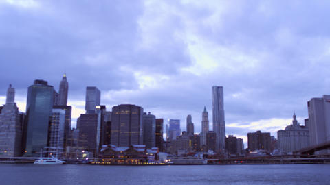 Panning shot of nyc and brooklyn bridge Footage