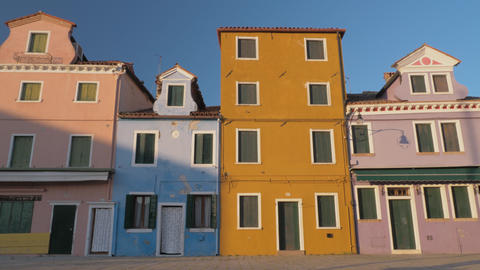 Traditional colored houses of Burano island in Italy Live Action