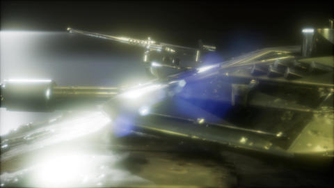 Tank in the dark with bright lights Footage