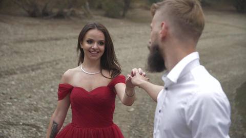 slow shooting modern romantic date in the style of the last century Footage