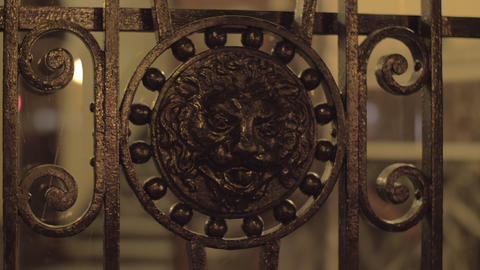 Wrought iron gates with lion head Footage