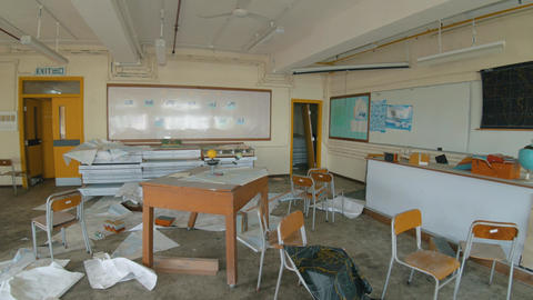 Abandoned School - Destroyed Geography Classroom 02 Footage