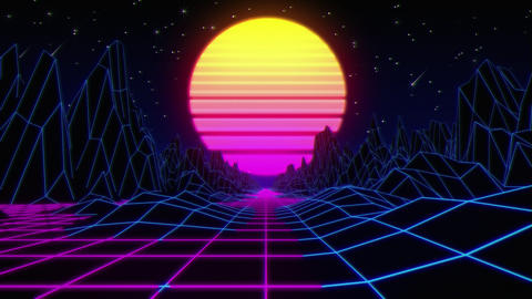 80s Synthwave Retro Stock Video Footage