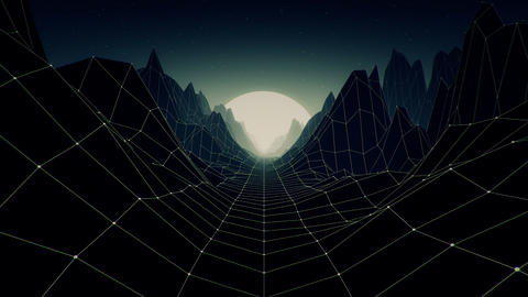 80s Retro Futurism Mountain Animation