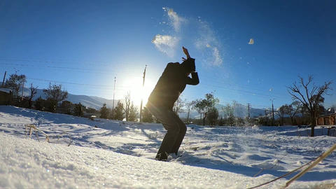 slow motion man and snow Footage
