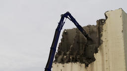 High Reach Demolition Excavator Arms Breaking Wall Live Action