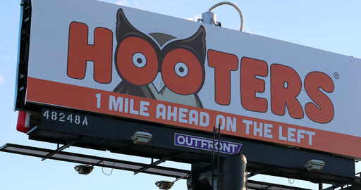 Hooters Restaurant Sign In Florida USA GIF