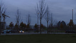 City Buildings Panning Panorama at Dawn Footage