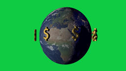 Money makes the wold go around concept with dollar symbol Animation