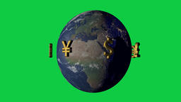 Money makes the world go around concept with currency symbols Animation