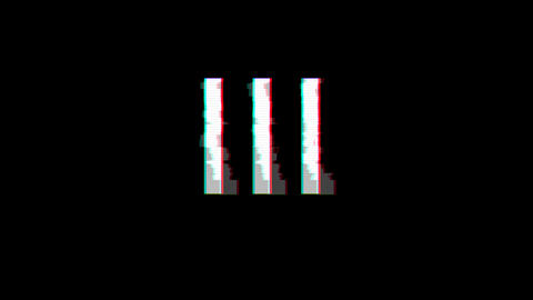 From the Glitch effect arises Roman numerals III. Then the TV turns off. Alpha channel Premultiplied Animation