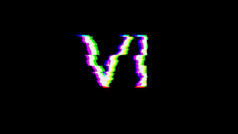From the Glitch effect arises Roman numerals VI. Then the TV turns off. Alpha channel Premultiplied Animation