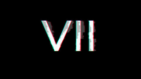 From the Glitch effect arises Roman numerals VII. Then the TV turns off. Alpha channel Premultiplied Animation