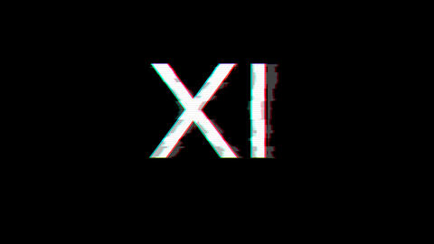 From the Glitch effect arises Roman numerals XI. Then the TV turns off. Alpha channel Premultiplied Animation