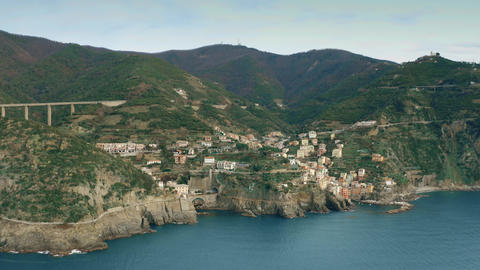 Aerial view of famous Riomaggiore village in Cinque Terre national park, Italy Live Action