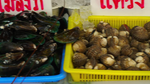 Thailand fresh seafood on street market GIF