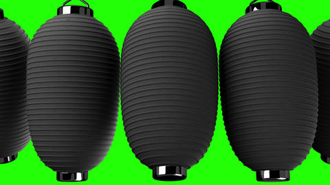 Black paper lantern on green chroma key CG動画