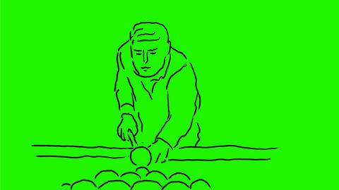 Billiards Pool Player Shooting Drawing 2D Animation Animation