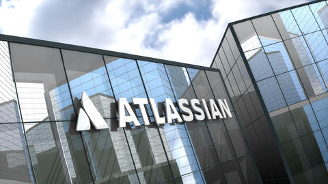 Editorial, Atlassian Corporation Plc logo on glass building Live Action