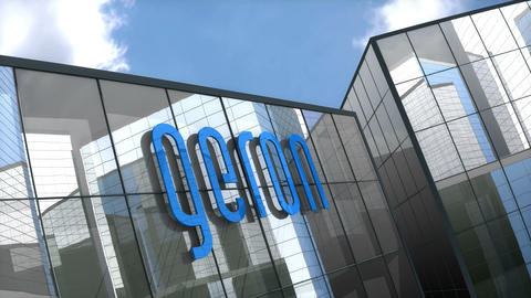 Editorial Geron logo on glass building Stock Video Footage