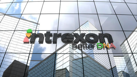 Editorial Intrexon logo on glass building Animation
