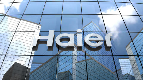 Editorial Haier Group Corporation logo on glass building Animation