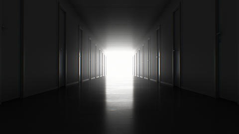Seamless Motion Through the Dark Corridor with Many Closed Doors to the Bright Footage