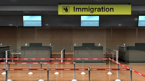 Airport Immigration counter Animation
