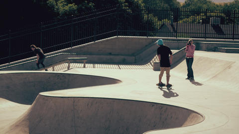 Shot of skater doing a few tricks at a skatepark Footage