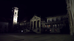 University of Coimbra In Portugal at night, slider shot Footage