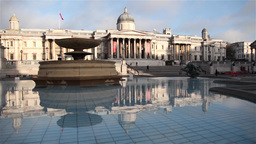 National Gallery and Trafalgar fountain in the square in london Footage