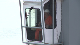 work within port harbor crane cabin Footage