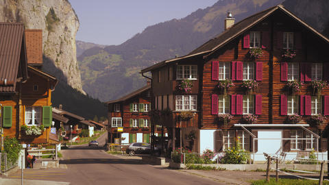 People on the street of small Swiss village Footage