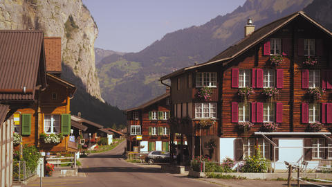 Quiet street of small Swiss village Footage