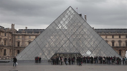 Louvre Museum glass piramid Footage