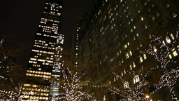 trees with christmas lights in new york square Footage
