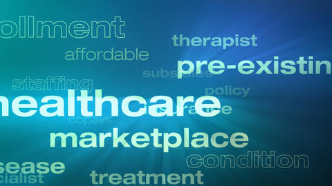 Healthcare and Insurance Words Loop Animation