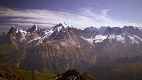 Panning shot of mountain peaks in Switzerland Footage